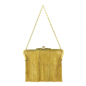 14ct Yellow Gold Mesh Evening Bag